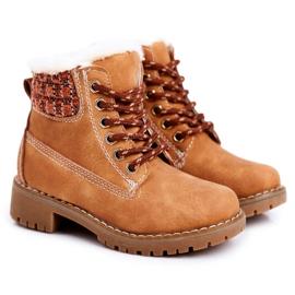 Apawwa Dětské teplé boty Traperki Beżowe Forest béžový hnědý
