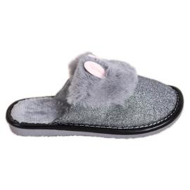 Bona Třpytivé pantofle s poškozením šedá