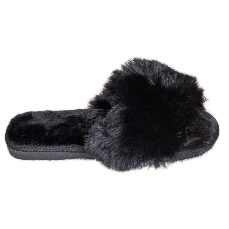 Bona Stylové černé pantofle černá