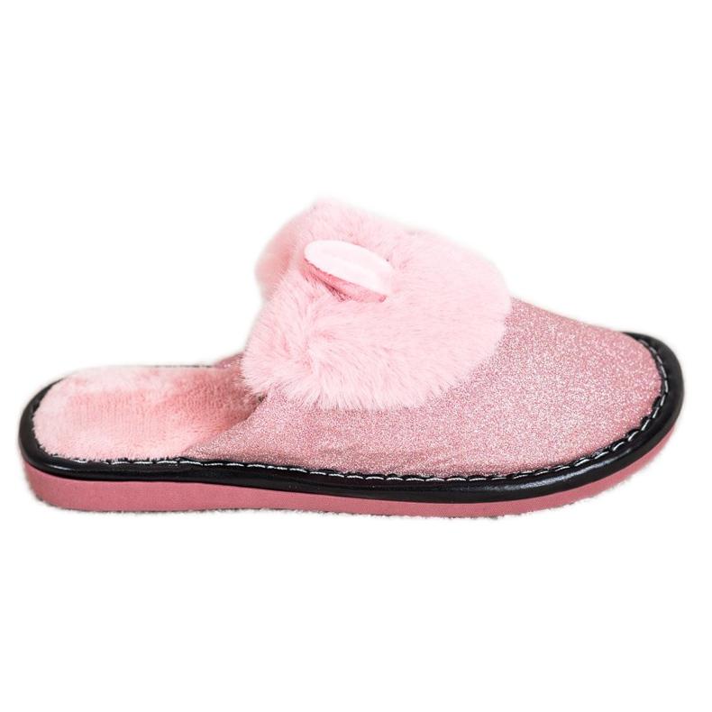 Bona Třpytivé pantofle s poškozením růžový