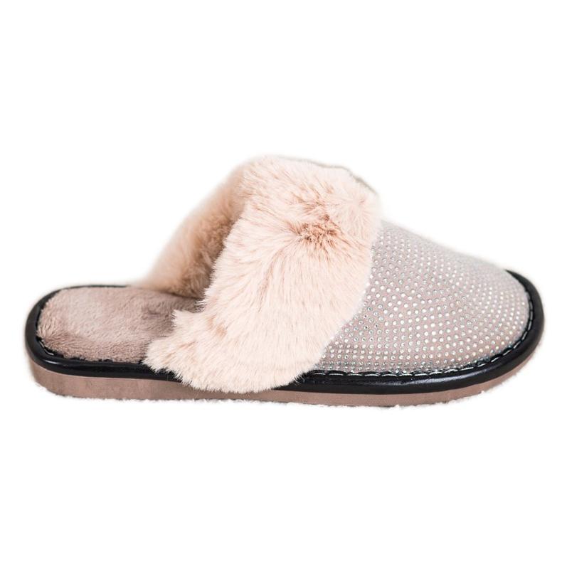 Bona Pohodlné pantofle s kožešinou béžový