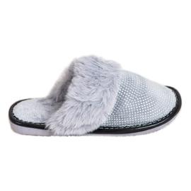 Bona Pohodlné pantofle s kožešinou šedá