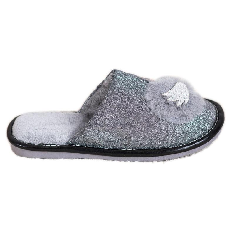 Bona Stylové pantofle s aplikací šedá