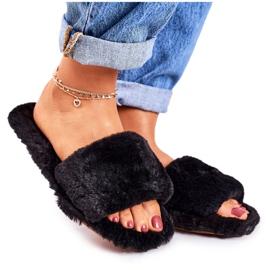 FRJ Dámské pantofle z černé kožešiny v chladných dnech černá