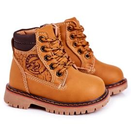 Linshi Lapače dětských teplých bot na gumovém podešvi z karamelu Bobby hnědý žlutý