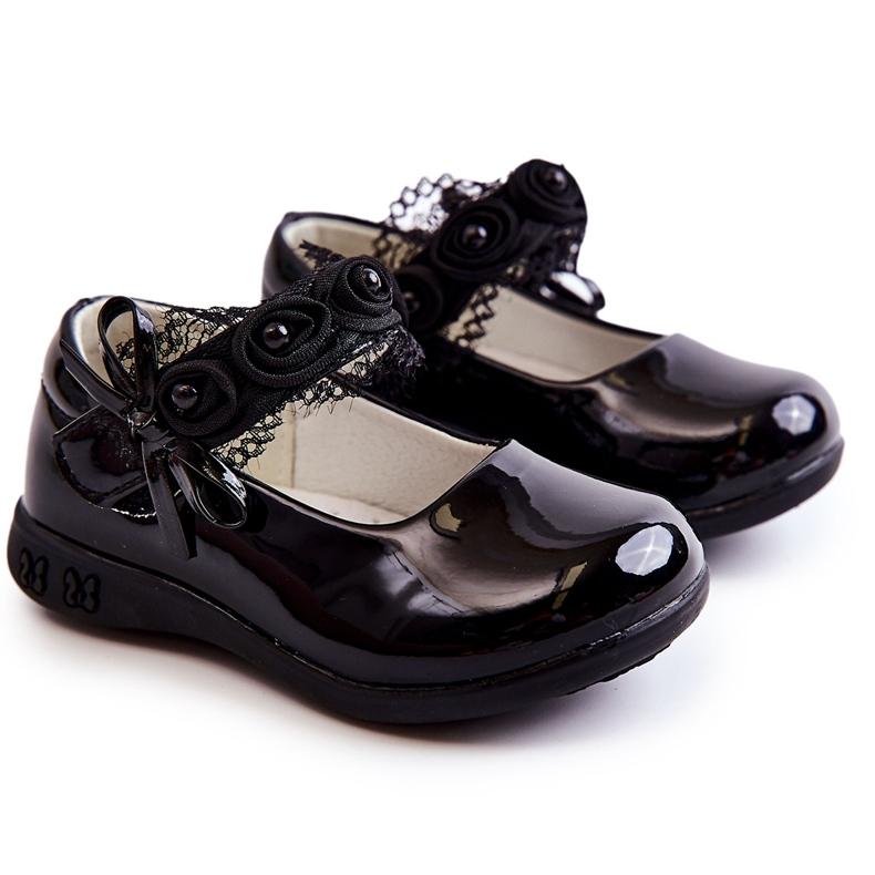 Apawwa Dětské baleríny se suchým zipem s krajkou Black Evelyn černá