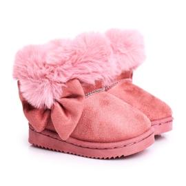 FRROCK Dětské sněhové boty s kožešinovou mašlí, růžová Vella růžový