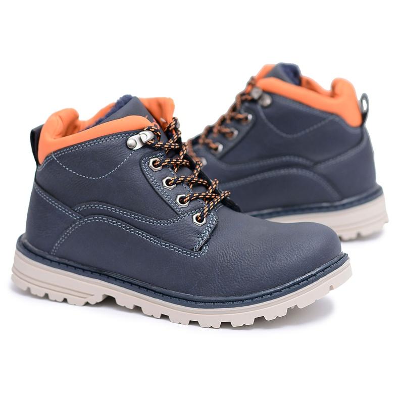 Vico Teplé dětské boty pro chlapce s fleece Billy válečné loďstvo oranžový