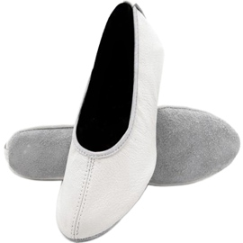 Baletní boty Antares - kožené, bílé bílá ecru
