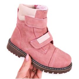 Apawwa Dětské lovecké boty zahřáté kožešinově růžovou Emmou béžový růžový