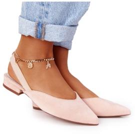 S.Barski Semišové baleríny na vysokých podpatcích S. Barski Pink růžový