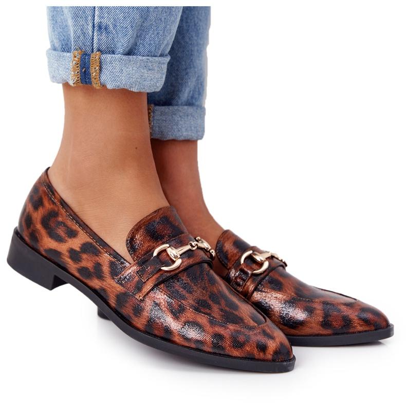 S.Barski Elegantní dámské mokasíny S. Barski Leopard hnědý