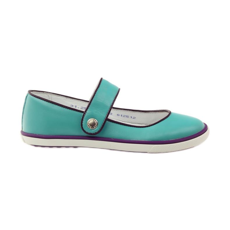 Baletka dětská obuv Bartek 28368 tyrkysová zelená nachový bílá