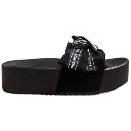 SHELOVET Pantofle s módní mašlí černá