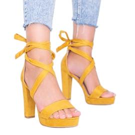 Ginnyiny hořčičné šněrovací sandály žlutý