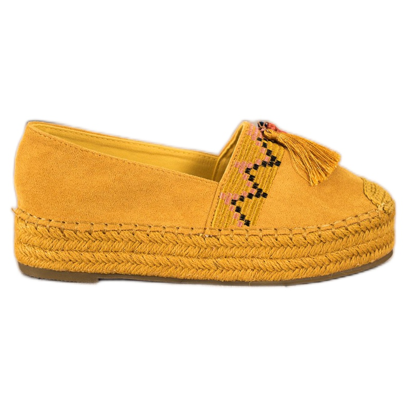 Coura Semišové espadrilky s třásněmi žlutý