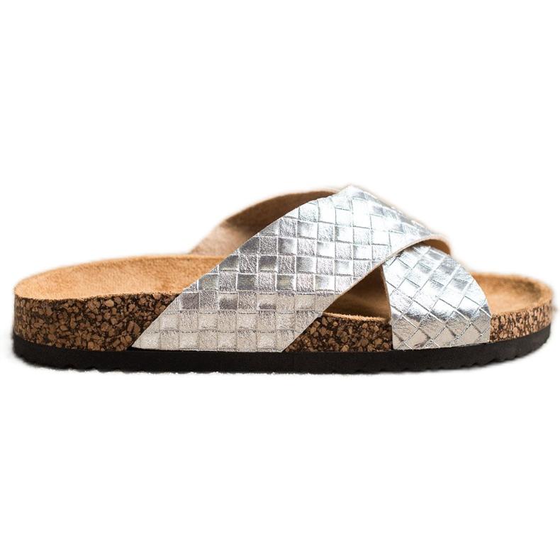 Bona Pohodlné pantofle s ekologickou kůží stříbro