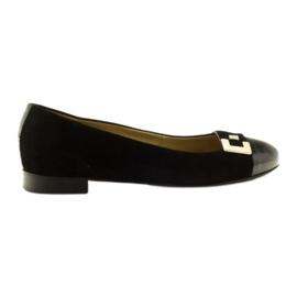 Baleríny dámské kožené boty se stříbrnou sponou Edeo