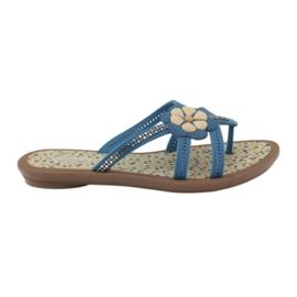 Rider Dětské boty se žabky s květinou do vody Grendha modrý