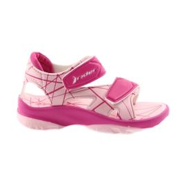 Růžový Růžové sandály dětské boty na suchý zip Rider 488