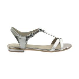 Šedá Dámské sandály EDEO wz.3087 stříbrné