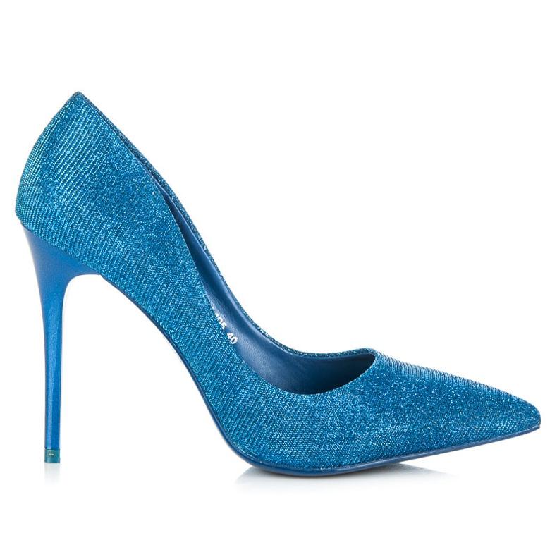 Qinba Lesklá čerpadla na vysokém podpatku modrý