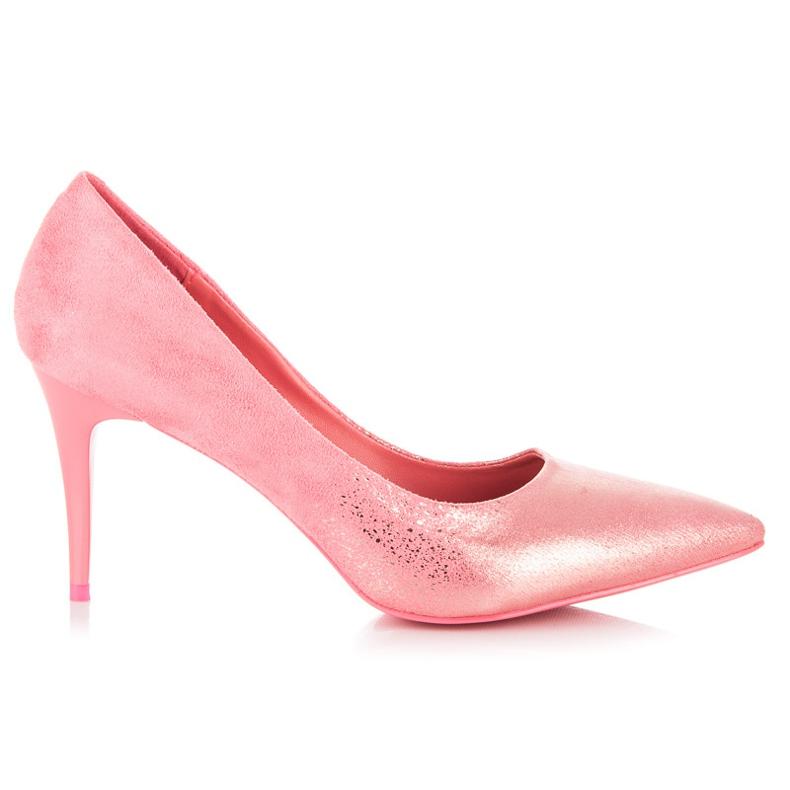 Qinba Suede vysoké podpatky růžový