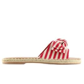 Pantofle espadrilles červená LL-133P červená