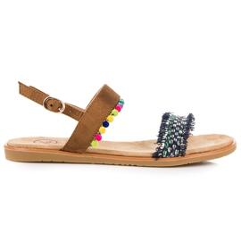 Kylie Semišové sandály s pompomy hnědý