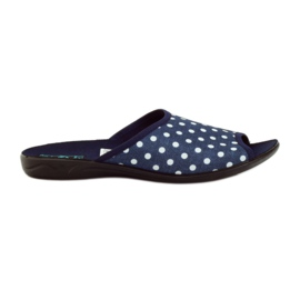 Pantofle adanex modré bavlněné tečky