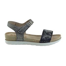 Sandály komfortní stříbrný grafit INBLU šedá