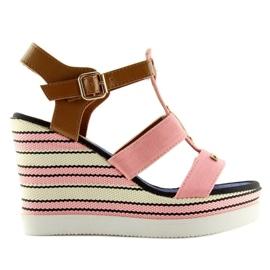 Růžový Sandály klínové podpatky růžové YQ05 růžové