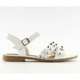 Bílá Sandály na ploché bílé barvě 99-19