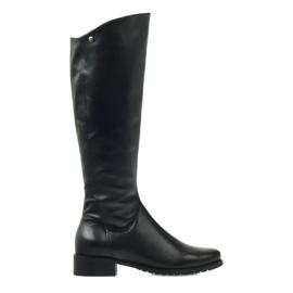 Černá Dlouhé černé boty Edeo 2206