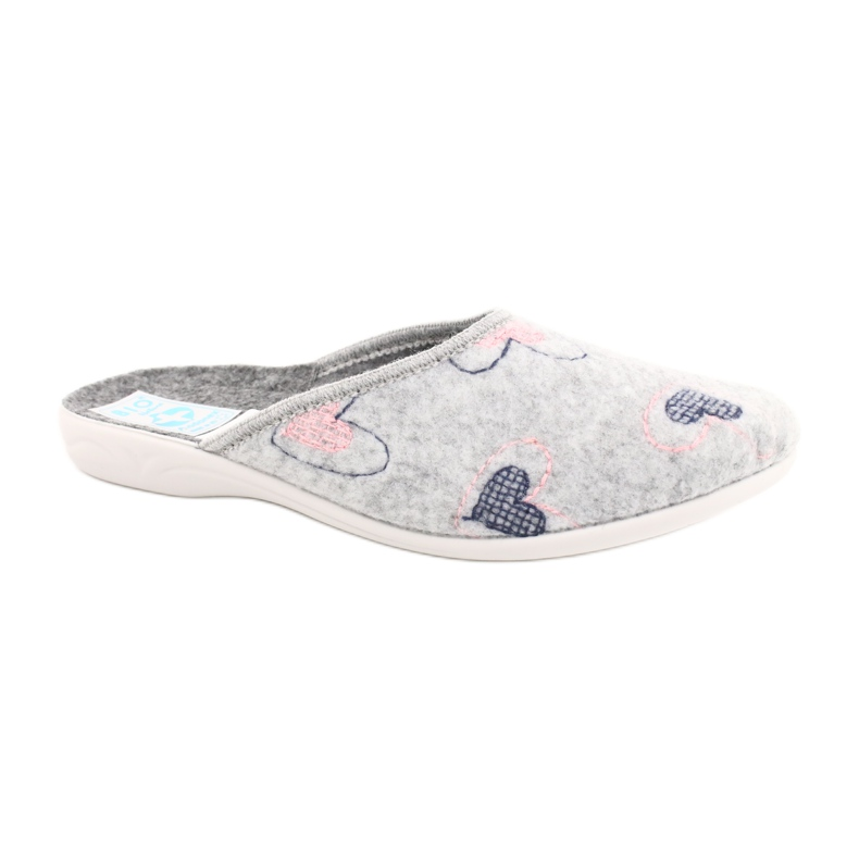 Šedá plstěná pantofle srdce Adanex 19255 šedá růžový