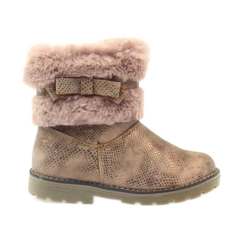 American Club Americké boty zimní boty s fur17042 hnědý žlutý růžový