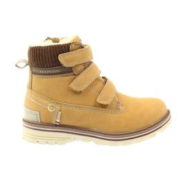 American Club Boty boty velcro 708121 hnědý žlutý
