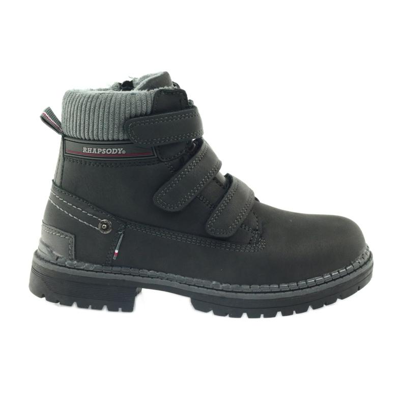 American Club Boty boty velcro 708121 černá šedá
