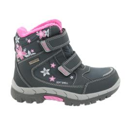 American Club Americké boty zimní boty s membránou 3121 šedá růžový
