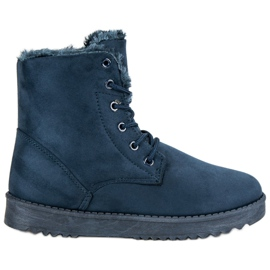 Forever Folie modrý Teplé semišové boty