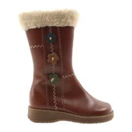 Zawadka Dívčí boty s kožešinou Zawatka hnědá hnědý