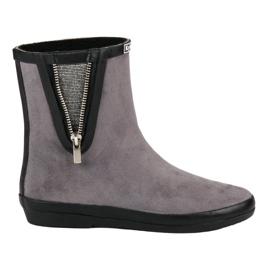 Kylie Suede Wellington boty s dekorativním zipem šedá