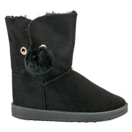 Černá Mukluki S kabátem z ovčí kůže