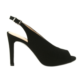 Edeo černá Suede sandály na kolíku