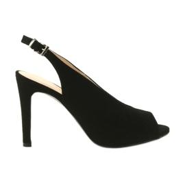 Edeo Suede sandály na kolíku černá
