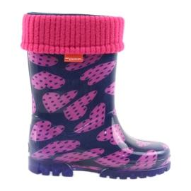 Demar gumové boty dětské teplé ponožky srdce
