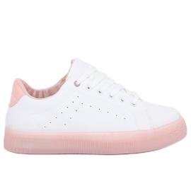 Růžové a bílé tenisky s vysokým podpatkem LA38P růžové