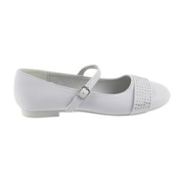 Bílá Pumpy dětské boty Communion Ballerinas rhinestones American Club 11/19