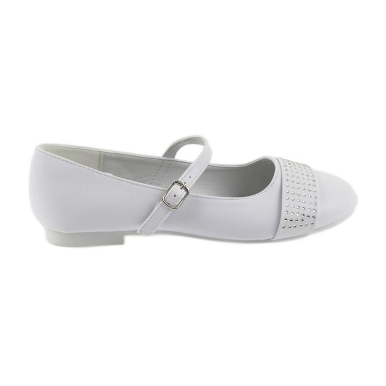 Pumpy dětské boty Communion Ballerinas rhinestones American Club 11/19 bílá