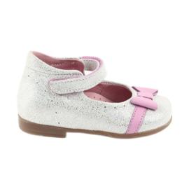 Ren But Velkro baleríny Ren Boot 1493 DISKO bílá šedá růžový